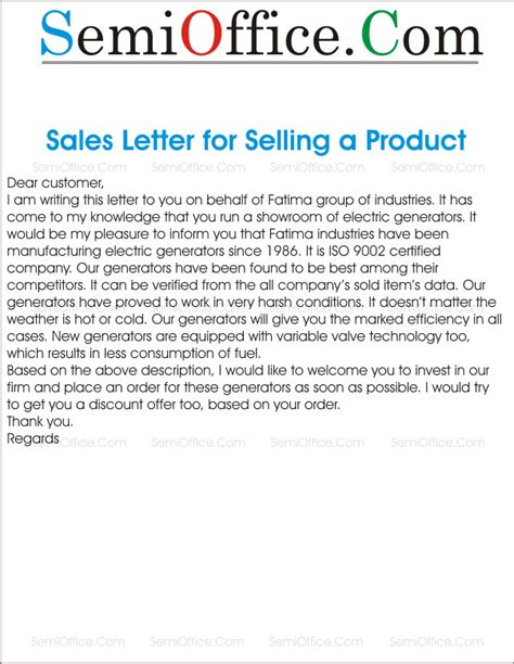 Sle Letter For Product Order Sales Letter For Selling Something To New Customer