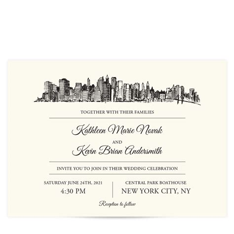 Wedding Invitations New York City by Skyline Destination City Skyline Wedding Invitations Pixie