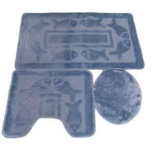 3 fish design bath pedestal bathroom mat set with