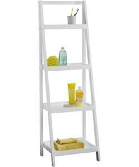 living white ladder storage unit with 4 shelves co