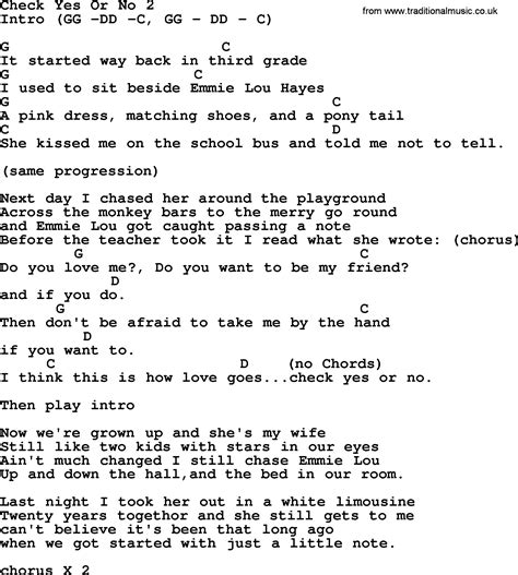 Or Lyrics Check Yes Or No 2 By George Strait Lyrics And Chords