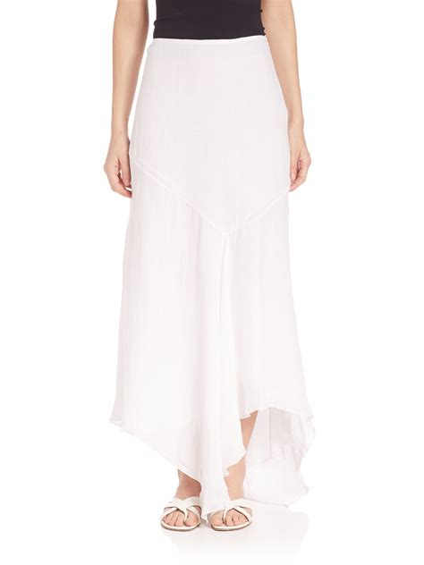 theory halvinnie asymmetrical maxi skirt in white lyst