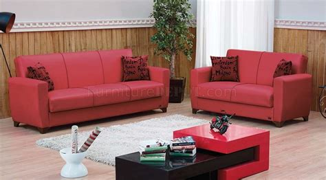 dallas sofa bed dallas sofa bed in red leatherette w optional loveseat