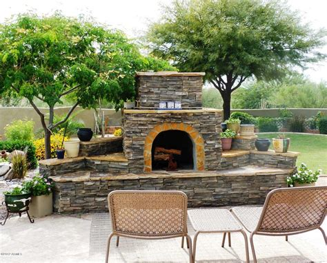fireplace for patio backyard exterior