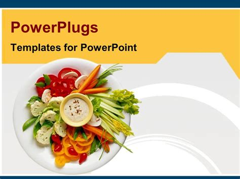 Powerpoint Template Healthy Diet Healthy Food On White Plate Freshly Made Salad Of Vegetables Food Templates For Powerpoint