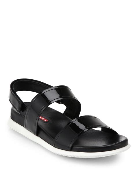 black patent flat shoes prada patent leather flat sandals in black lyst