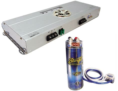 stinger 3 farad capacitor car audio lifier package dub 2802 stinger 1 farad cap w install