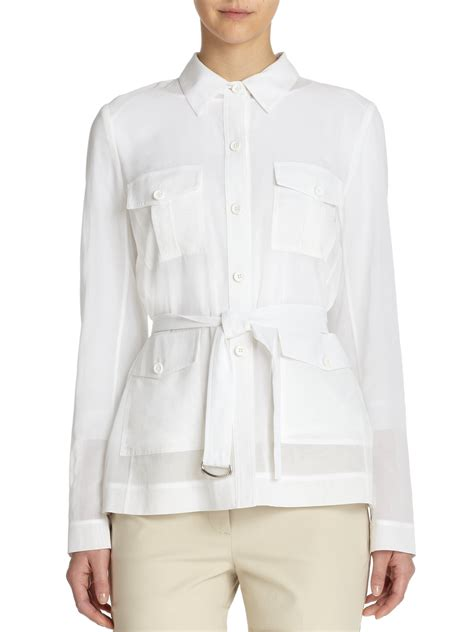Safari Jacket White lyst theory lorem cotton safari jacket in white