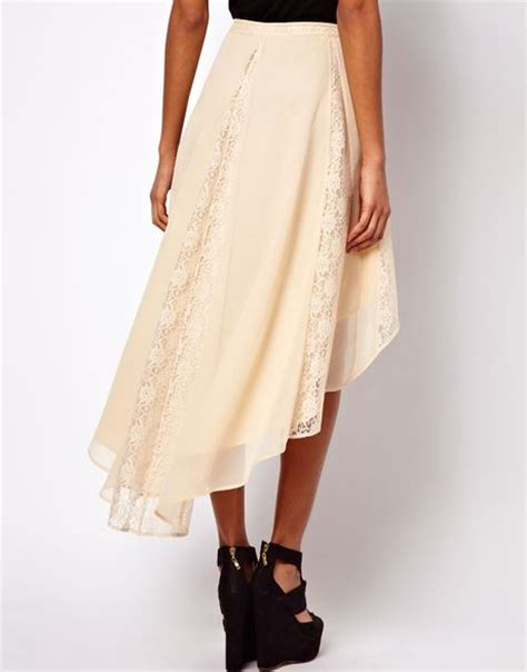 asos lace insert skirt with high low hem in white