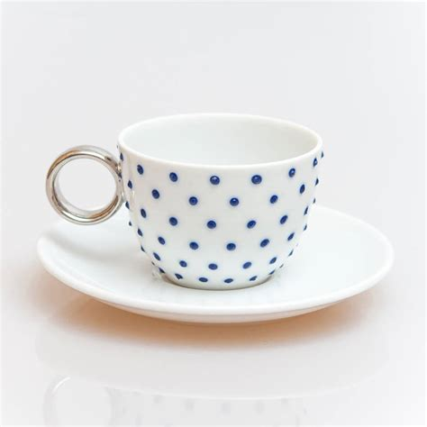 Handmade Espresso Cups - handmade dotted espresso cup with saucer by terry pottery