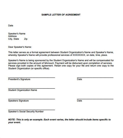 Exle Of A Letter Of Agreement Sle Letter Of Agreement 8 Exle Format