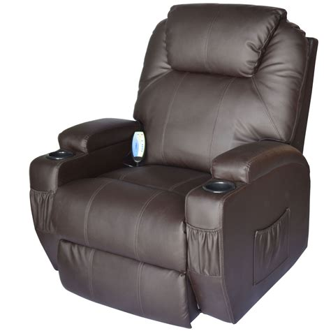 Heated Recliner by Homcom Deluxe Heated Vibrating Pu Leather Recliner Chair Brown