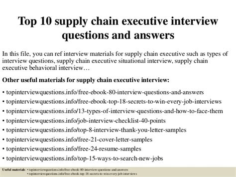 top 10 supply chain executive questions and answers