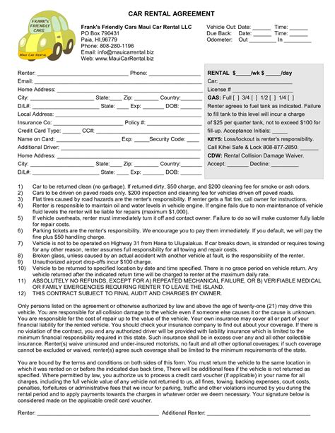 rental car agreement template best photos of vehicle rental agreement vehicle rental