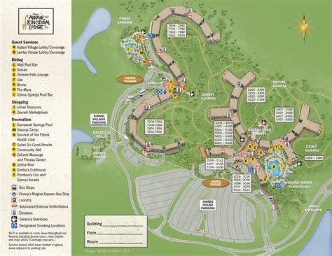 Kidani Village 2 Bedroom Villa Floor Plan 2013 Animal Kingdom Lodge Guide Map Photo 1 Of 1