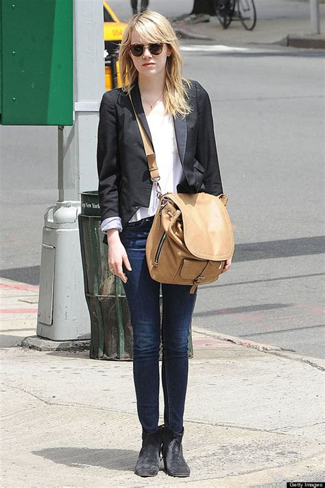 emma stone casual emma stone looks cool and casual while out in new york