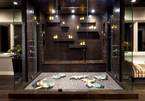floating candles decoration ideas bathroom contemporary with shower wood floor open