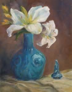 daily painting projects white lilies and turquoise