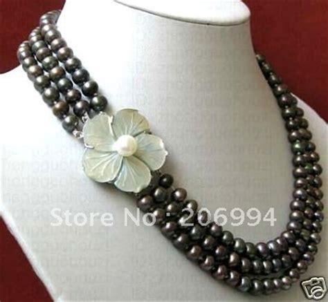 Handmade Fashion Jewelry - handmade stylish 3rows 7 8mm black freshwater pearl