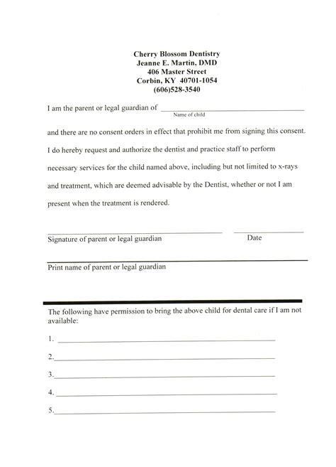 Patient Consent Letter patient forms jeanne e martin dmd