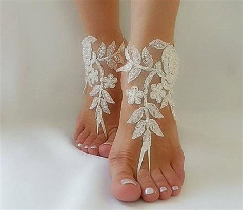 Frame Foto Sandal ivory barefoot silver frame lace sandals wedding