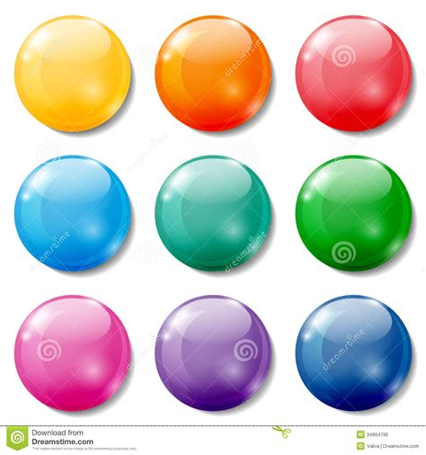 Set Of Various Color Glossy Sphere Isolated On Colored Buttons Royalty Free Stock Photo Image 34864795