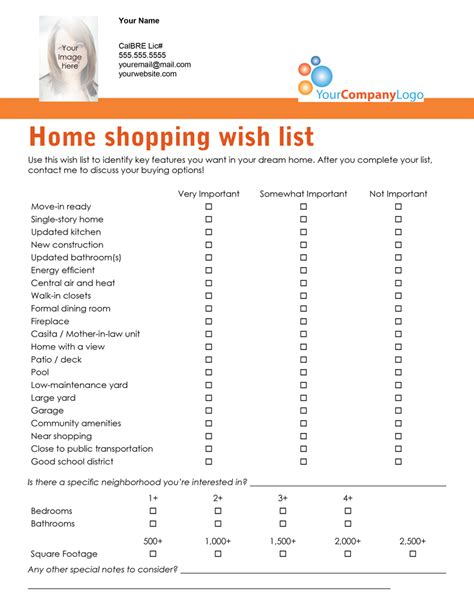 home shopping list template home buyer wish list template images