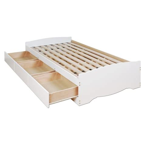 twin platform bed with storage drawers prepac white twin mate s platform storage bed with 3