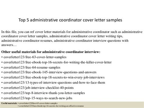 administrative coordinator cover letter top 5 administrative coordinator cover letter sles