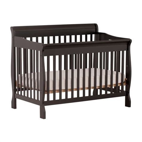 Stork Craft Modena 4 In 1 Fixed Side Convertible Crib In Black 4 In 1 Convertible Crib