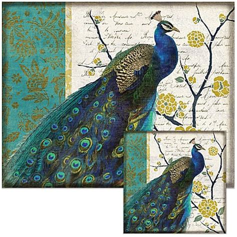 Tempered Glass Peacock peacock 12 inch x 15 inch glass cutting board with trivet set bed bath beyond