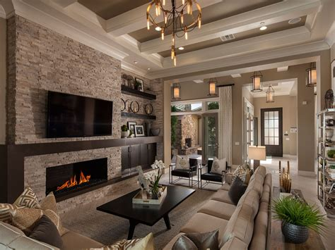 a dramatic coffered ceiling defines this great room that
