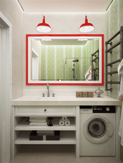 green themed bathroom a pair of super small apartments with dazzling neon accents