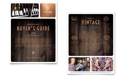 wine brochure template winery brochure template design
