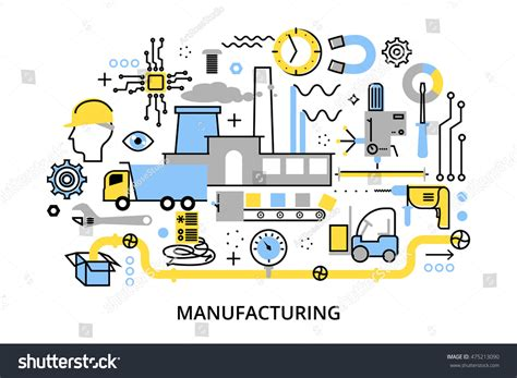 design for manufacturing concept modern flat editable line design vector stock vector