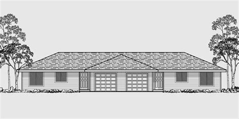Small Prairie Style House Plans One Level Duplex House Plans Corner Lot Duplex Plans