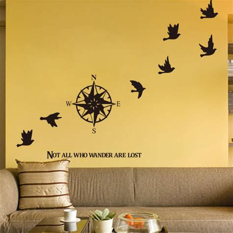 compass wall sticker home decals decor removable