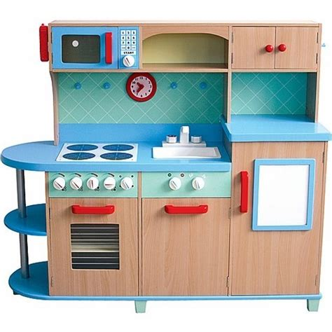 all in one play kitchen deluxe wooden kids kitchen set