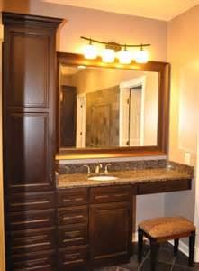 Countertop Cabinet Bathroom Cherry Finish Bathroom Cabinets With Granite Countertop Vaughn Interior Concepts