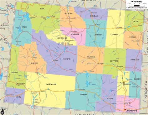 political map of wyoming political map of wyoming ezilon maps