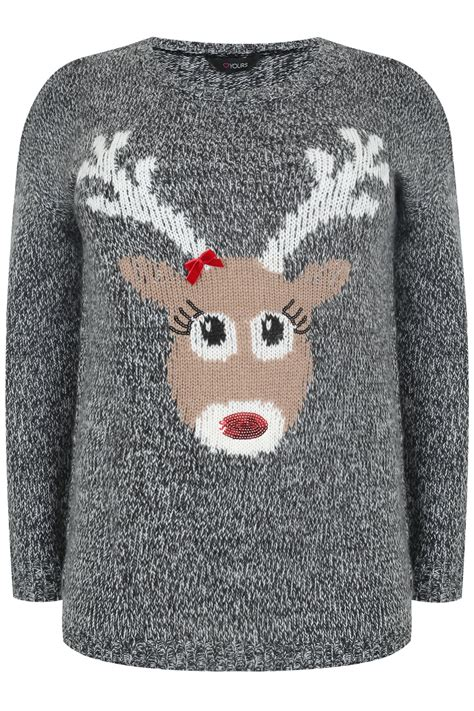 reindeer knitting patterns for jumpers black white knitted reindeer print jumper plus