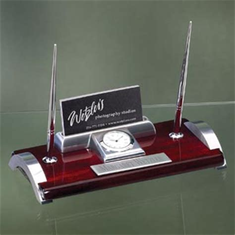 engraved desk name plates with business card holder engraved rosewood desk pen set with silver accents