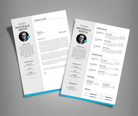 free professional resume cv design with cover letter available in 2 colors psd file resume