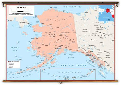 us political map alaska alaska state political classroom map from academia maps