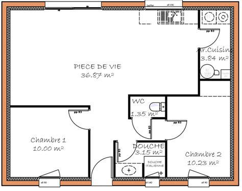 plan maison 2 chambres plain pied plan maison 80m2 2 chambres plan maison plein pied 90m2