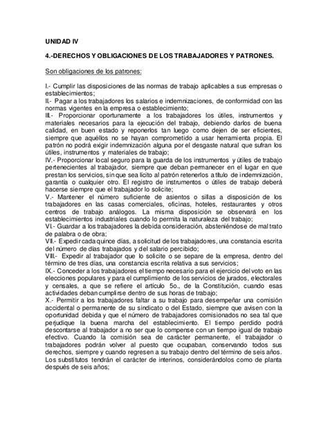 derechos y obligaciones de los trabajadores unidad iv derecho laboral mexicano derechos y