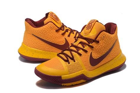 cavs shoes cleveland cavaliers nike kyrie irving 3 shoes yellow wine
