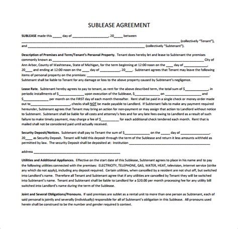 sublet agreement template sublease agreement 22 free documents in pdf word