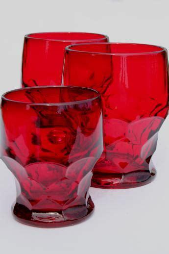 viking georgian ruby red glass tumblers juice glass vintage drinking glasses lot