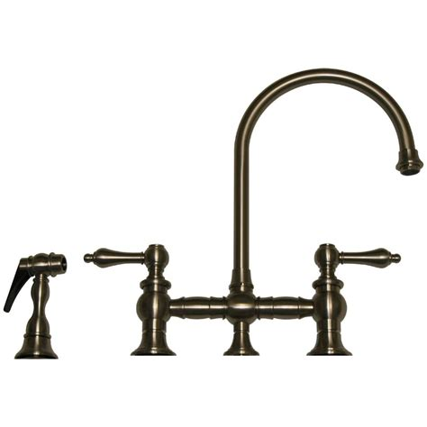 bridge kitchen faucet with side spray whitehaus whkblv3 9101 vintage lever bridge kitchen faucet with side spray at bluebath